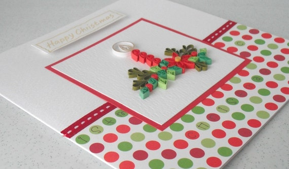 Quilled Christmas card - quilling, candles, flowers