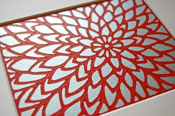 Zinnia Lino Print - Red on Silver