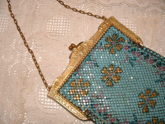 Art Deco Mandalian Enamel Mesh Purse SALE PRICE