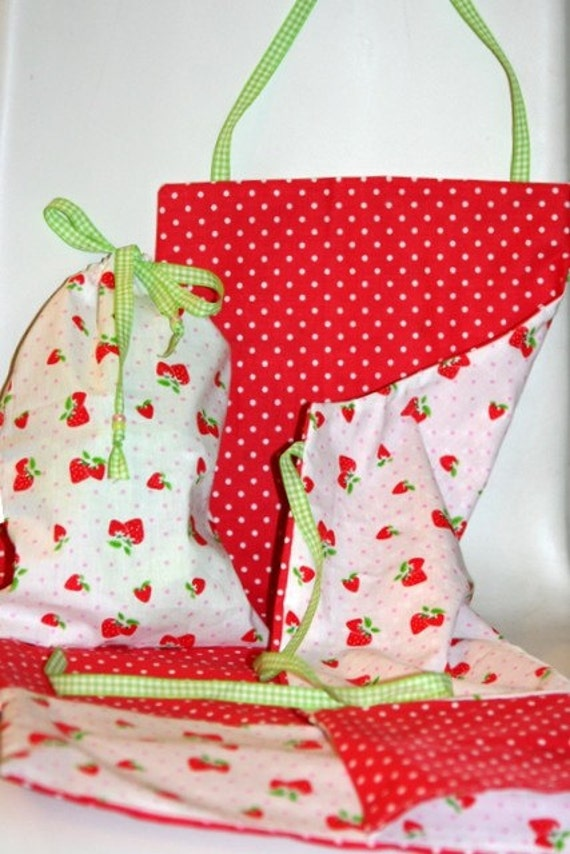 Spots and Strawberries Reversible Cotton Apron sweet for all purpose wear crafts arts gardening or just playing master chef
