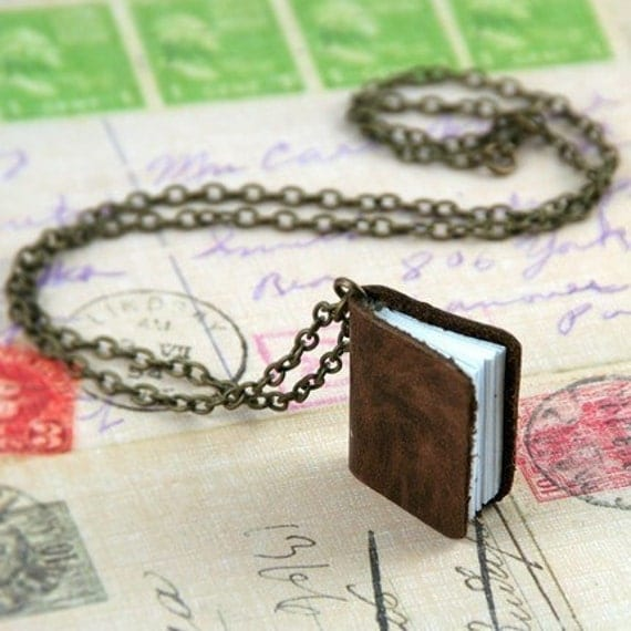 On SALE Genuine Leather Mini Journal Necklace - Handmade Accessory