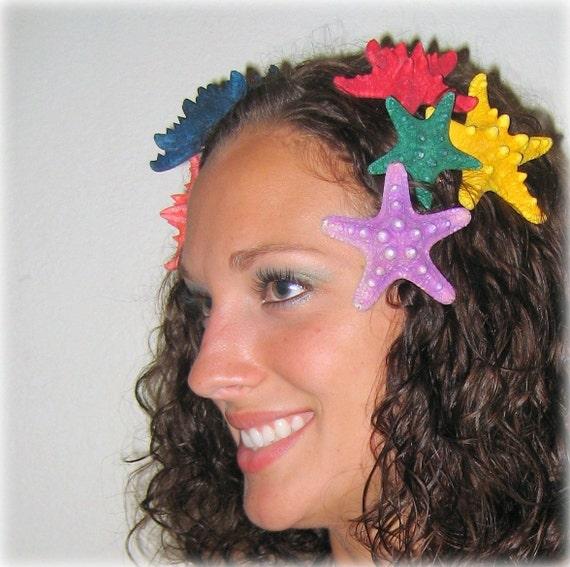Реальная Морская звезда зажим для волос окрашенных Фиолетовый узловатые