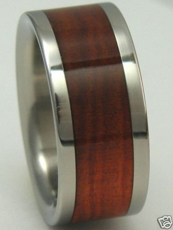 Titanium Wood Ring Custom Red Heart WOOD Band Mens or Ladies Wedding Bands