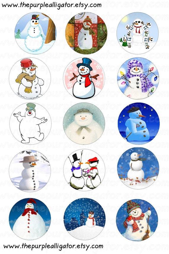 Snowman 1 Inch Digital Image Bottle Cap/Tile/Pendant Image DIY Jewelry Image