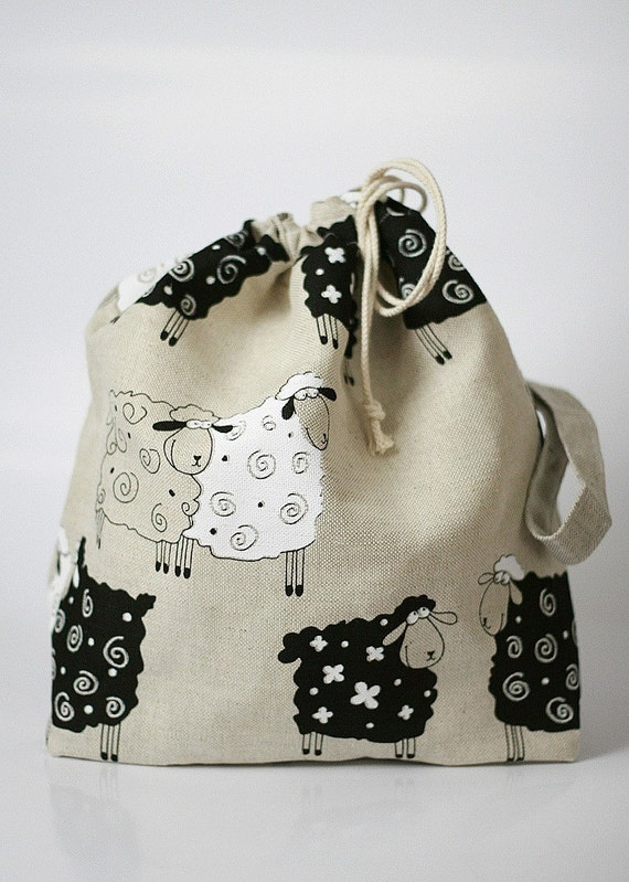 "SALE - 10% discount, Use Discount Code ""KNITBAG10"". Knitting Project Bag. Lucky Sheep."