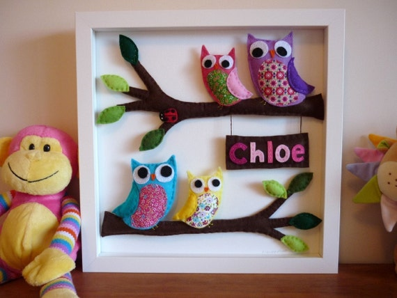 3D Personalised Felt Art - Rainbow Owl Family
