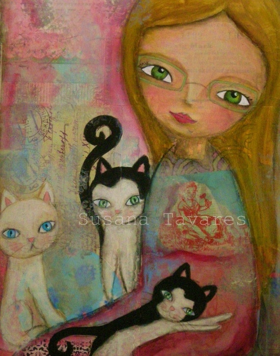 LOVE KITTENS- art Print from original mixed media painting art collage 8 x 10""