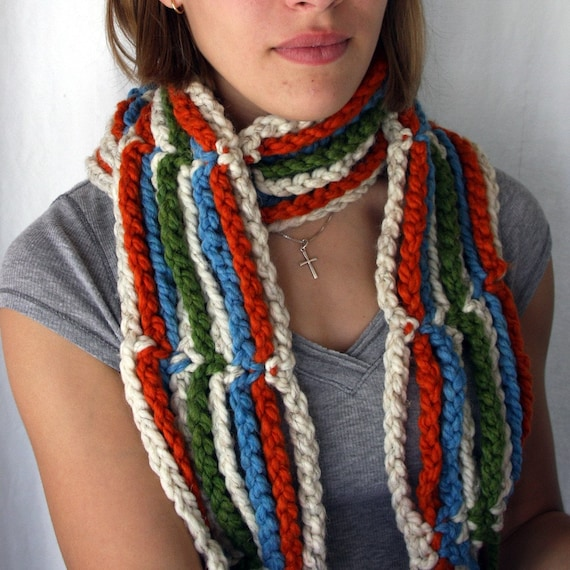 SALE Hanging out on the Line Hawaii Five O Crocheted Chunky Stripes Scarf