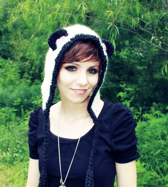 Panda Hat - Panda Bear Hat - Animal - Costume - Hood - Black And White - Bear Hat