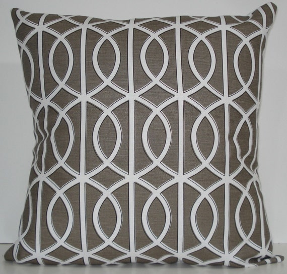 New 18x18 inch Designer Handmade Pillow Cases. Dwell Studio. lattice, trellis, link. warm grey