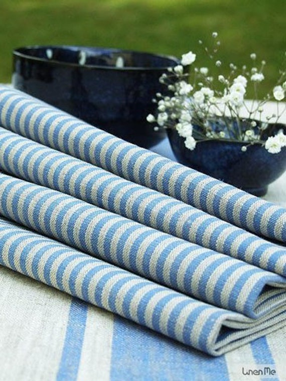 Natural Blue Striped Linen Cotton Napkins Set of 8