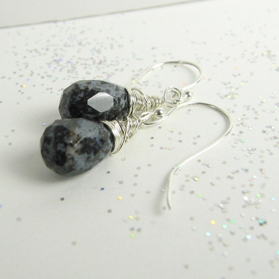 Snowflake Obsidian on Sterling Earrings Hand Made