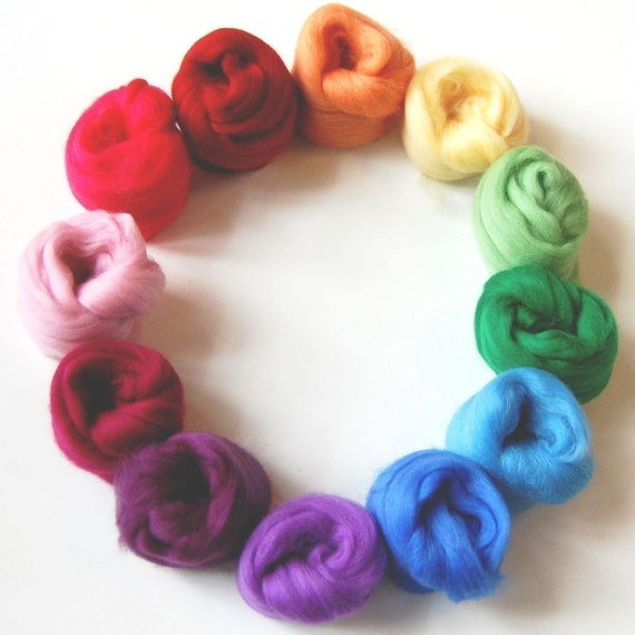 Hazy Rainbow Feltmaking Mix - A colourful assortment of merino tops/roving for felting/spinning/craft kit.
