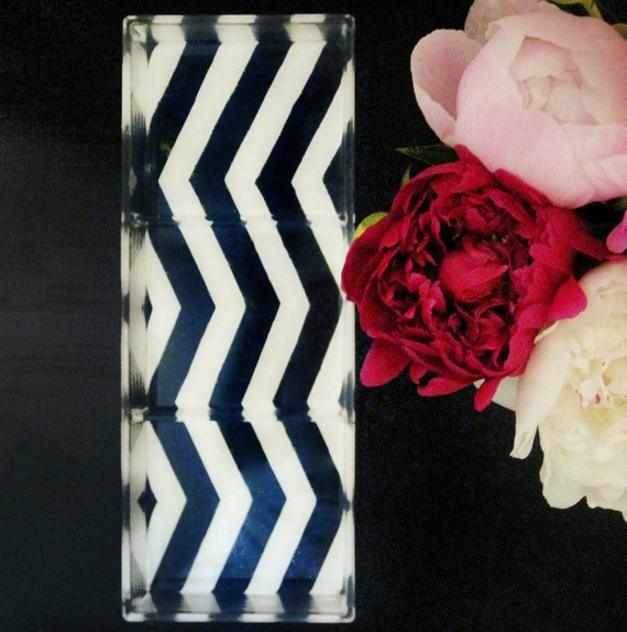 Navy Blue/White Chevron Stripe Lucite Tray
