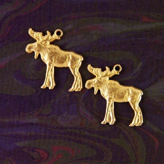 ANIMAL- Two Brass Moose Charms
