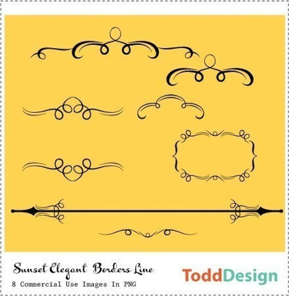 Sunset Elegant Borders Line Digital Clip Art for wedding invitations