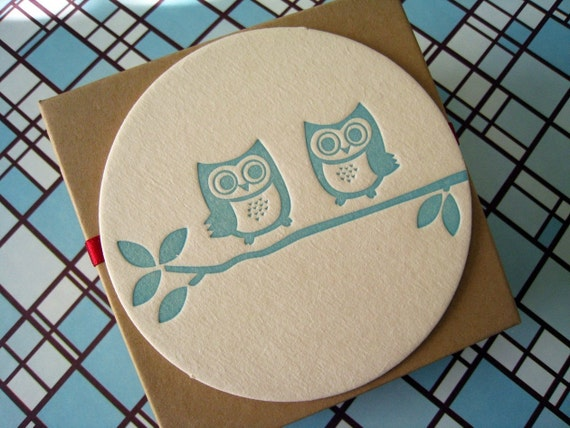 Letterpress Coaster Set - owls