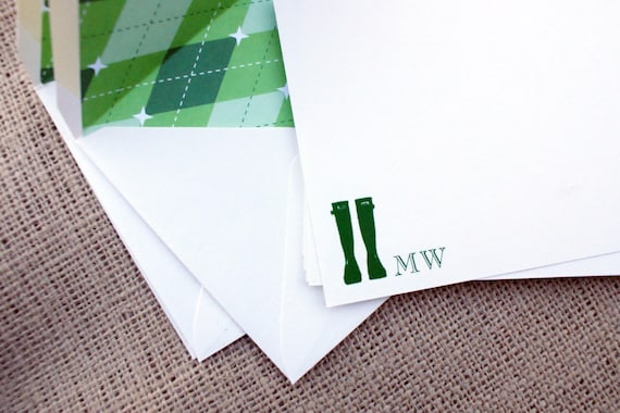 Wellies Note Cards with Argyle Patterned Envelope Liners - Personalized - Set of 8