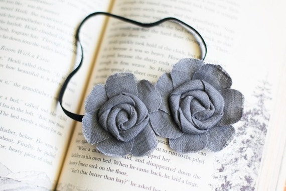 "Fabric Flower Headband -""Kerigan"" - Double Flower Grey Headband in Smoky Linen"