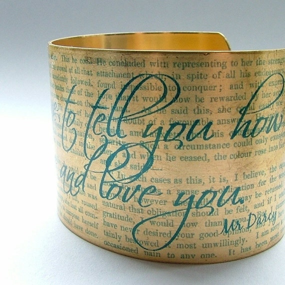 Valentines Day - Pride and Prejudice Book by Jane Austen Mr Darcy Proposal Quote Brass Cuff Bracelet in Blue - free shipping
