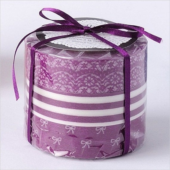 Purple Lace Ribbon Japanese Masking Tape Set of 3 - 15mm