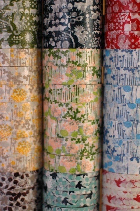 Floral Japanese Washi Tape Little Garden Paper Flower Pattern Masking Tapes Set of 3