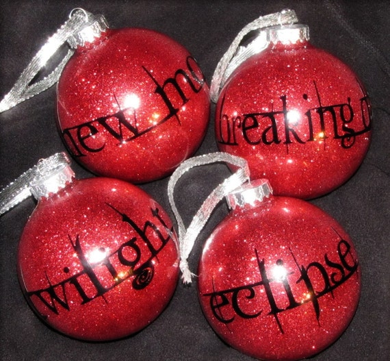 4-Pack of Twilight Series Glitter Christmas Ornaments