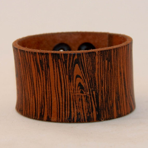Faux Bois Leather Cuff  Wood Pattern Jewelry Lumberjack Chic