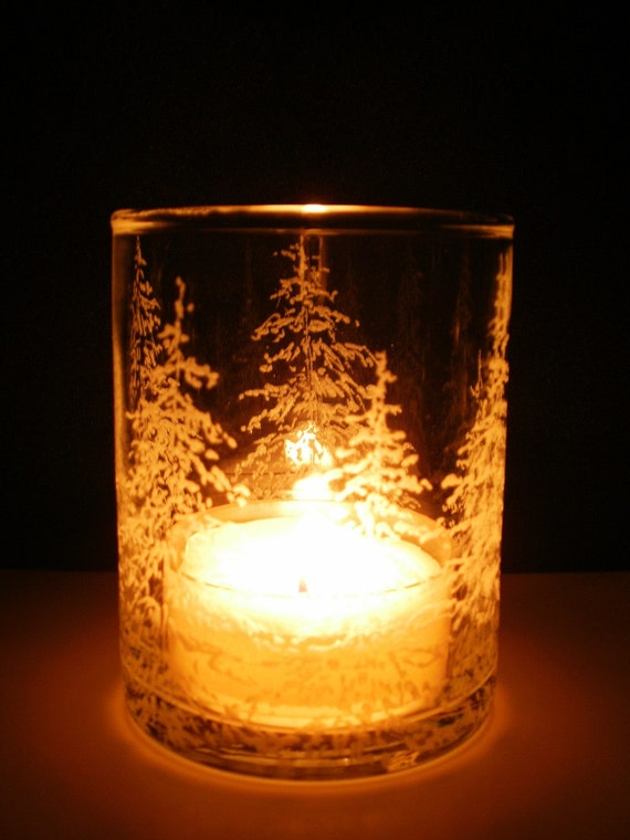Fir Trees . Hand Engraved Glass Votive Holder
