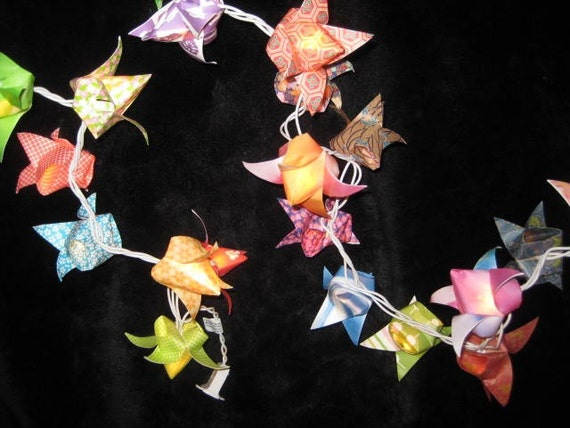 Origami patterned Tulips lantern string light