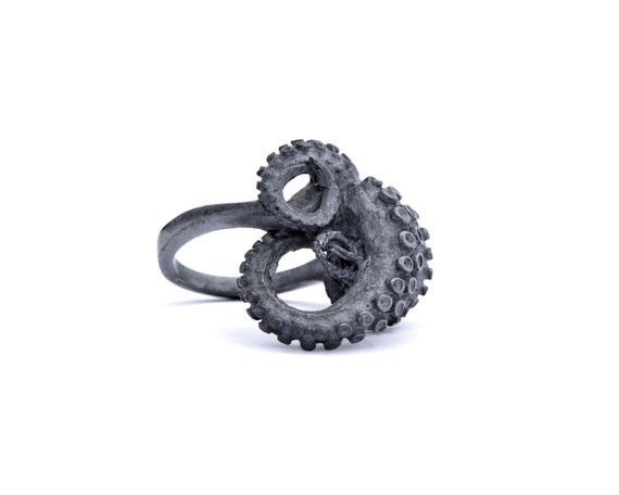 Black Silver Tentacle Ring