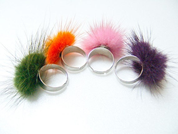 Colorful Fur rings