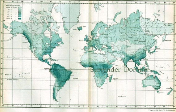 World Map Showing Distribution Of Rainfall 1896 Victorian Antique Copper Engraved Map to Frame