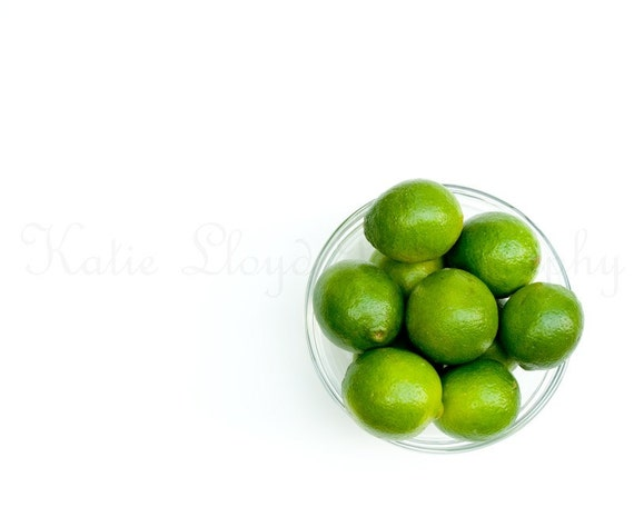 Bowl of Limes - 20x30 Fine Art Food Photography Print - Minimalist Negative Space Green Round Geometric Home Decor Photo