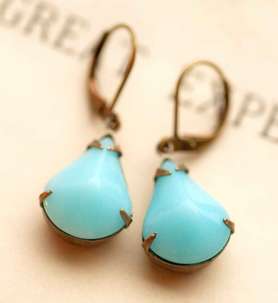 Estate Style Aqua Opaque Glass Teardrop Earrings