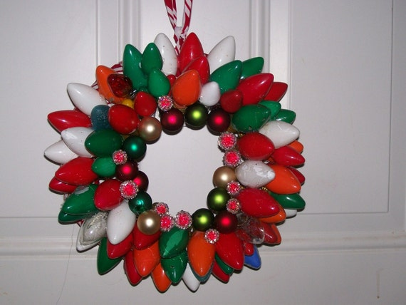 10 inch upcycled vintage- Multi Colored- Christmas light wreath-Christmas in July (almost)