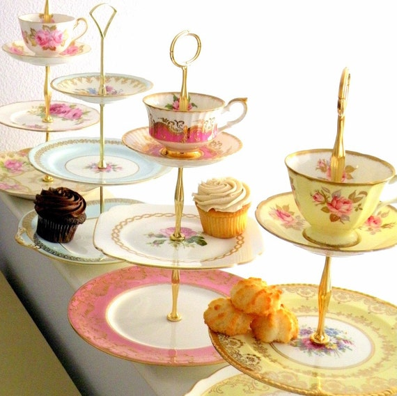 High Tea for Alice CUSTOM 3 Tier Tea & Cupcake Stand of Vintage China to Match Wedding Colors or Home Decor Scheme