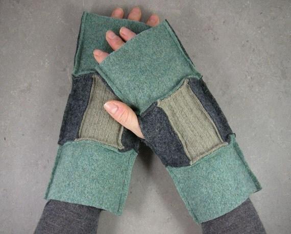 экологически чистом - руку обогреватели - без пальцев, рукавицы - переработанной шерсти - рукавицы - перчатки без пальцев - ярь-медянки серый и верблюд - унисекс