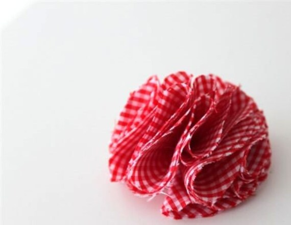 5 pcs Red and White Gingham Pompom Appliques