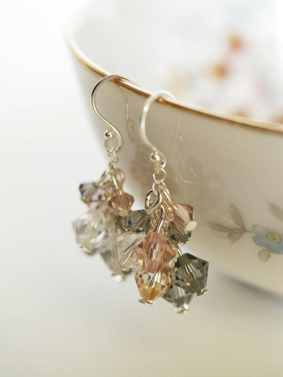 Peach and Gray Crystal Earrings