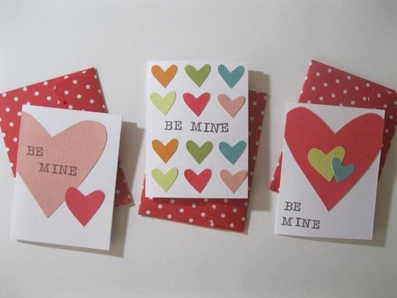 BE MINE  Valentine Cards, plus handmade envelopes