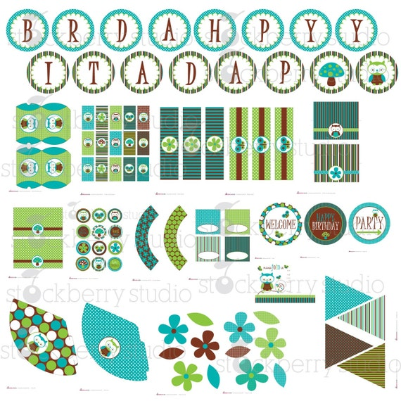 Blue and Green Owl Party Kit Printable PDF