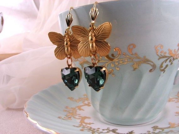 BELIEVE earrings with butterflies and vintage blue rhinestone hearts