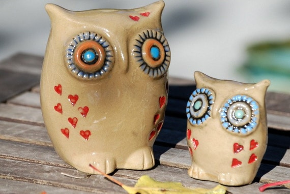 owls home decor with hearts  handmade pottery