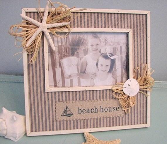 "Пляж Декор Морской Shell Frame - Seashell Frame ш Starfish & Sand Dollar "", Beach House"""