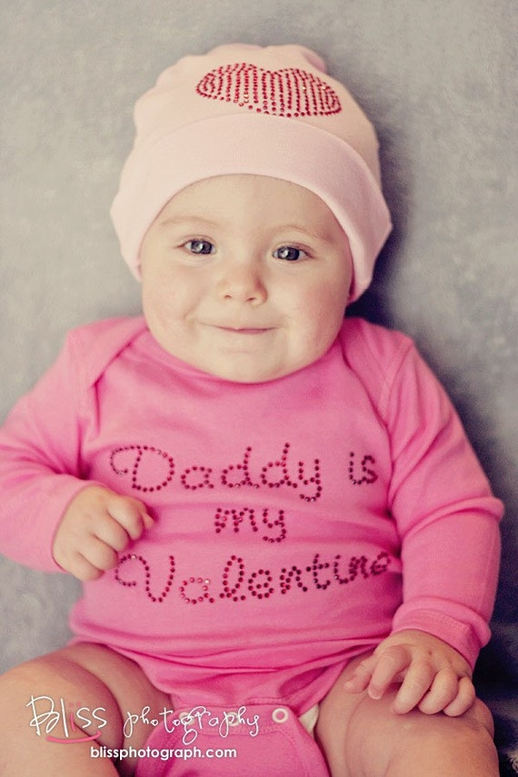 Daddy Is My Valentine Pink Rhinestone Bling Top