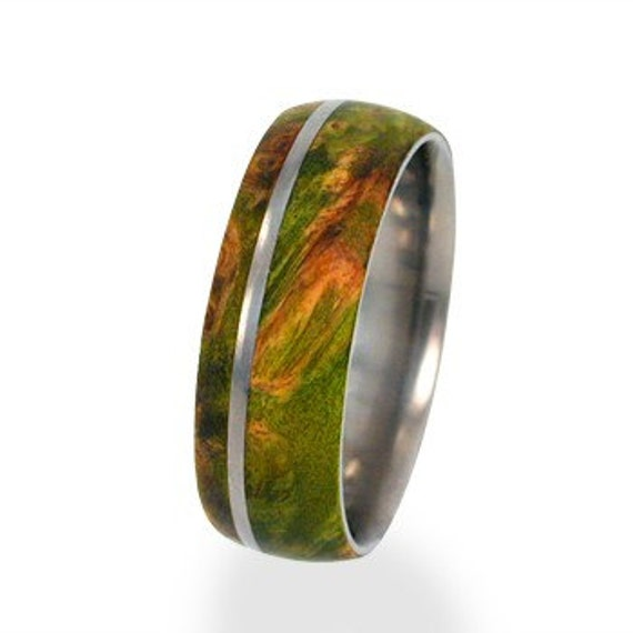 Mens and Womens Titanium Wedding Rings inlaid with Green Box Elder Burl Wood