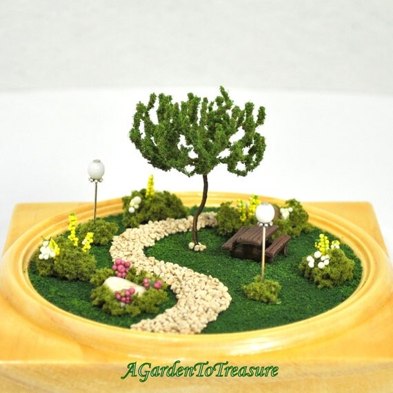 "Walk in the Park - A Miniature Terrarium Garden - 4"" diameter"