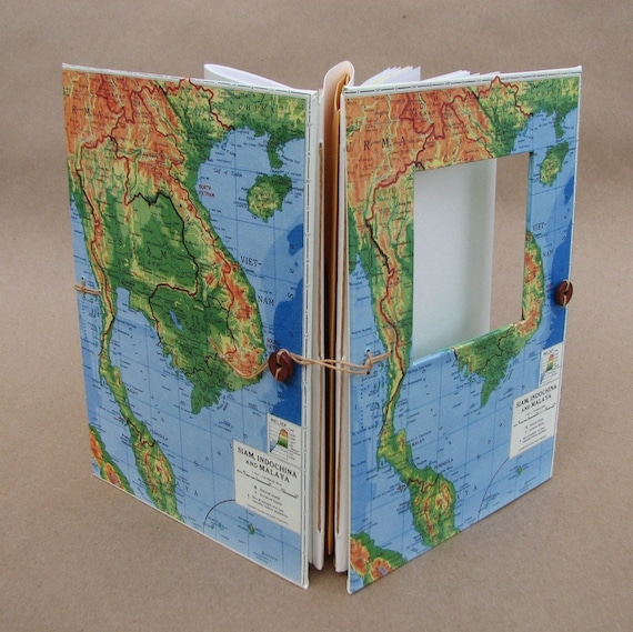 Southeast Asia Versatile Travel Map Journal, Handmade for Artists, Scrapbookers and Writers