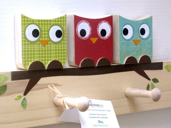 Owl Friends Peg Rack - Green, Red and Turquoise - eco-friendly by Maple Shade Kids